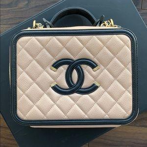 Chanel Beige and Black Filigree Vanity Case Bag